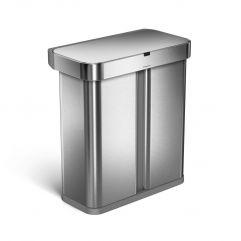 rektangulær sensorbøtte resirkulering m/ stemmeaktivering (34/24L) børstet stål